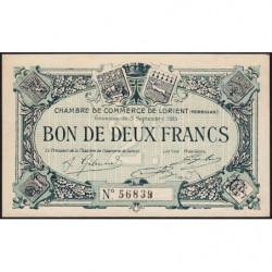 Lorient (Morbihan) - Pirot 75-11 - 2 francs - Sans Série - 03/09/1915 - Etat : NEUF