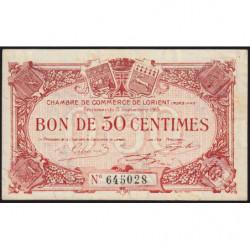 Lorient (Morbihan) - Pirot 75-17 - 50 centimes - Sans Série - 03/09/1915 - Etat : TTB+