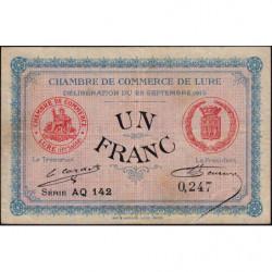 Lure - Pirot 76-7- 1 franc - Série AQ142 - 25/09/1915 - Etat : TB+