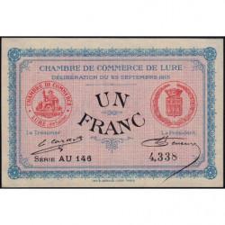 Lure - Pirot 76-7 - Série AU 146 - 1 franc - 1915 - Etat : SPL