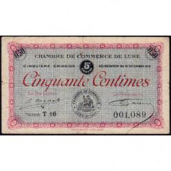Lure - Pirot 76-32 - 50 centimes - Série T 16 - 16/12/1919 - Etat : TB-