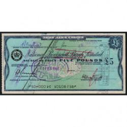 Grande-Bretagne - Italie - Chèque Voyage - National Provincial - 5 pounds - 1965 - Etat : SUP+