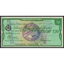 Grande-Bretagne - Afrique du Sud - Chèque Voyage - National Provincial - 20 pounds - 1965 - Etat : SUP+