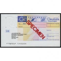 Grande-Bretagne - Postchèque spécimen - 1980 - Etat : pr.NEUF