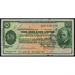 Grande-Bretagne - Afrique du Sud - Chèque Voyage - Thomas Cook - 20 pounds - 1971 - Etat : SUP