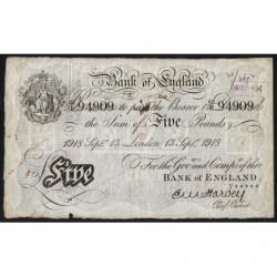 Grande-Bretagne - Pick 312a - 5 pounds - 13/09/1918 - Etat : B+ à TB-