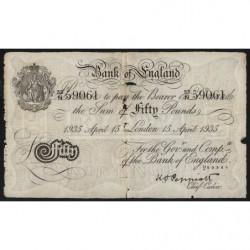 Grande-Bretagne - Pick 338af - 50 pounds - 15/04/1935 - Faux de l'Opération Berhnard - Etat : TB-