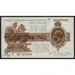 Grande-Bretagne - Pick 359a - 1 pound - 1922 - Etat : TTB+