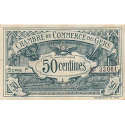 Auch (Gers) - Pirot 15-5 - Série F - 50 centimes - 1914 - Etat : TTB
