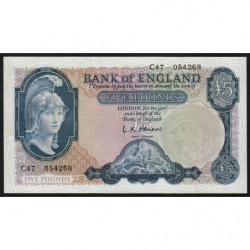 Grande-Bretagne - Pick 371 - 5 pounds - 1957 - Etat : SUP+
