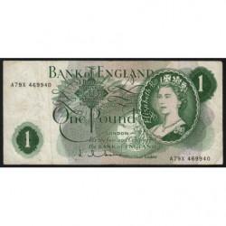 Grande-Bretagne - Pick 374c - 1 pound - 1963 - Etat : TB-