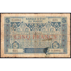 Maroc - Pick 9_3 - 5 francs - Série O.2952- 1929 - Etat : B+
