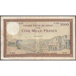 Maroc - Pick 23c - 5'000 francs - Série U.432 - 19/04/1951 - Etat : TB