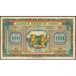 Maroc - Pick 27_1 - 100 francs - Série B18 - 01/05/1943 - Etat : TB+