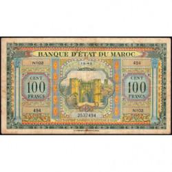Maroc - Pick 27_1 - 100 francs - Série N102 - 01/05/1943 - Etat : TB