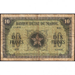 Maroc - Pick 25_3 - 10 francs - Série C1416 - 01/03/1944 - Etat : B