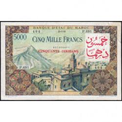 Maroc - Pick 51 - 50 dirhams sur 5'000 francs - 1953 (1959) - Etat : B