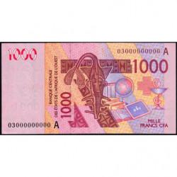 Côte d'Ivoire - Pick 115Aa épreuve fautée - 1'000 francs - 2003 - Etat : SUP+