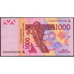 Côte d'Ivoire - Pick 115Aa épreuve n° 000000000 - 1'000 francs - 2003 - Etat : SUP+