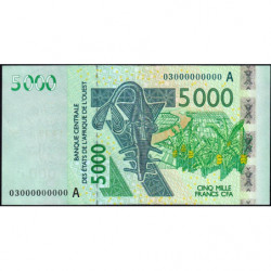 Côte d'Ivoire - Pick 117Aa épreuve fautée - 5'000 francs - 2003 - Etat : SUP+