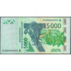 Côte d'Ivoire - Pick 117Aa épreuve n° 000000000 - 5'000 francs - 2003 - Etat : SUP+
