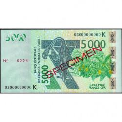 Sénégal - Pick 717Ka spécimen - 5'000 francs - 2003 - Etat : SUP+