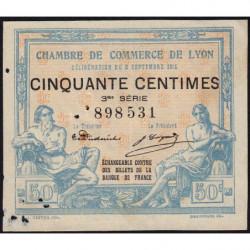 Lyon - Pirot 77-5 - 50 centimes - 3ème série - 1915 - Etat : TB