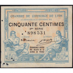 Lyon - Pirot 77-5 - 50 centimes - 3me série - 09/09/1915 - Etat : TB