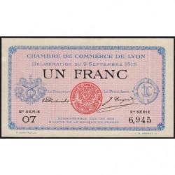 Lyon - Pirot 77-6 - 1 franc - 2e série 07 - 09/09/1915 - Etat : NEUF