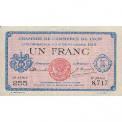 Lyon - Pirot 77-6 - 1 franc - 2e série 255 - 09/09/1915 - Etat : SUP+