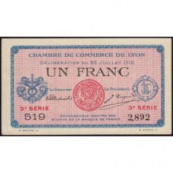 Lyon - Pirot 77-10 - 1 franc - 3e série 519 - 23/07/1916 - Etat : SUP