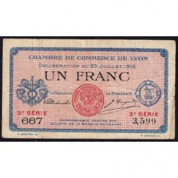 Lyon - Pirot 77-10 - 1 franc - 3e série 667 - 23/07/1916 - Etat : TB