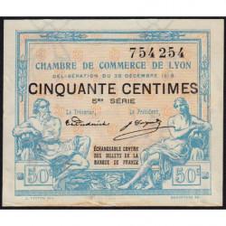 Lyon - Pirot 77-12 - 50 centimes - 5ème série - 1916 - Etat : SUP