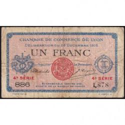 Lyon - Pirot 77-13 - 1 franc - 4e série 886 - 28/12/1916 - Etat : B+