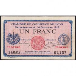 Lyon - Pirot 77-19 - 1 franc - 7e série 1885 - 16/10/1919 - Etat : TTB-