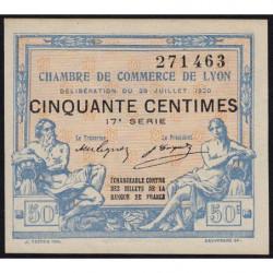 Lyon - Pirot 77-22 - 50 centimes - 17e série - 29/07/1920 - Etat : SPL