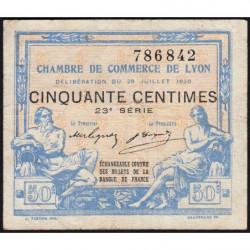 Lyon - Pirot 77-22 - 50 centimes - 23ème série - 1920 - Etat : TB