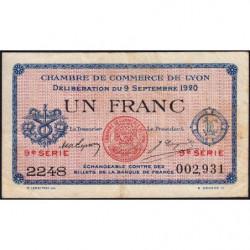 Lyon - Pirot 77-23 - 1 franc - 9e série 2248 - 09/09/1920 - Etat : TB
