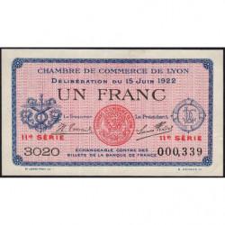 Lyon - Pirot 77-27 - 1 francs - 11ème série - 1922 - Etat : SUP