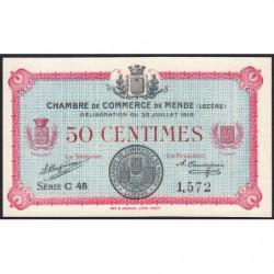 Mende (Lozère) - Pirot 81-5 - 50 centimes - Série C 45 - 30/07/1918 - Etat : pr.NEUF