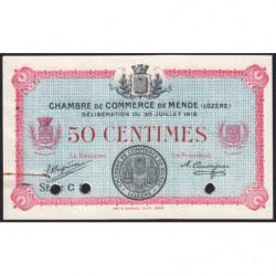 Mende (Lozère) - Pirot 81-6 - 50 centimes - Série C 3... - 30/07/1918 - Annulé - Etat : SUP+