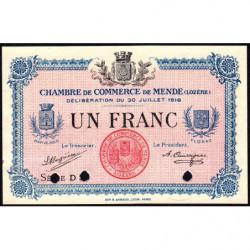 Mende (Lozère) - Pirot 81-8- 1 franc - 1918 - Annulé - Etat : SPL
