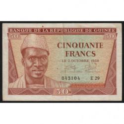 Guinée - Pick 6 - 50 francs - 1958 - Etat : TTB