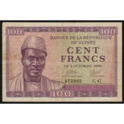 Guinée - Pick 7 - 100 francs - 1958 - Etat : TTB