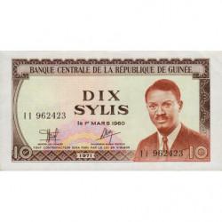 Guinée - Pick 16 - 10 sylis - 1971 - Etat : SPL