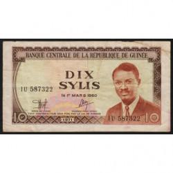 Guinée - Pick 16 - 10 sylis - 1971 - Etat : TB+
