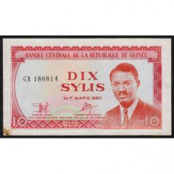 Guinée - Pick 23 - 10 sylis - 1980 - Etat : TB+