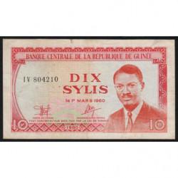 Guinée - Pick 23 - 10 sylis - 1980 - Etat : TB