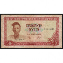 Guinée - Pick 25 - 50 sylis - 1980 - Etat : B+