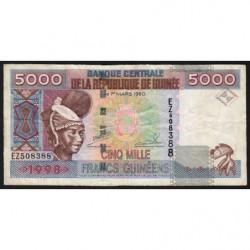 Guinée - Pick 38 - 5'000 francs guinéens - 1998 - Etat : TB